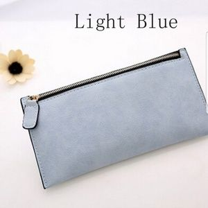 Blue Faux Suede Leather Wallet